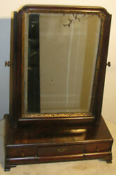 1740and039s English Mahogany Queen Anne Gentlemenand039s Shaving Antique Mirror-original
