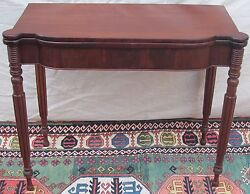 19th C Sheraton Mahogany Antique Game Card Table Console Portsmouth Nh