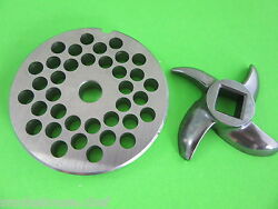 22 X 5/16 Meat Grinder Plate And Knife Stainless Fits Hobart Tor-rey Lem Mtn Etc