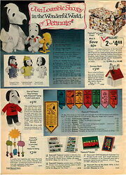 1974 Advertisement Snoopy Peanuts Chest Mobile Woodstock Stuffed Tennis Pennant