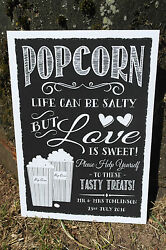 Vintage Chalk Style Life Is Salty Love Is Sweet Popcorn Sign Print Wedding Party