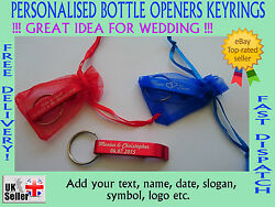 25/50/100 X Personalised Bottle Openers Keyrings Ideal For Wedding Favour Gift