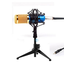 Pro Blue Condenser Microphone with Shock Mount Desk Table top Metal Tripod stand