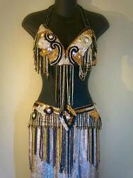 Professional Turkish Bellydance Costume For Women Black, Gold, Silver