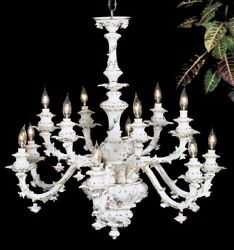 Capodimonte Made In Italy Chandelier 12 Light New White And Gold Finish