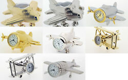 Novelty Miniature Aeroplane Clocks 5 To Choose From Gold Or Chrome Plated