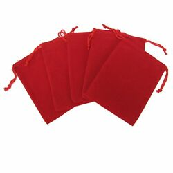200 Red Drawstring Gift Velvet Square Wedding Pouches Favour Jewelry Bag 2