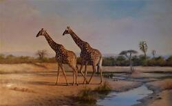 Large signed original oil painting by famed African wildlife artist Jean Abrie