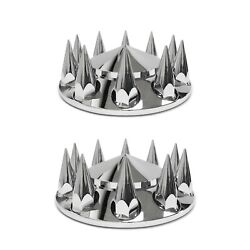 2 Chrome 10257pj Spiked Front Axle Hub And Nut Covers With 33mm Lug Nut Covers