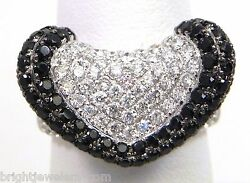 Robust Ladies 14k White Gold 4.22 Cts. White And Black Diamonds Ring