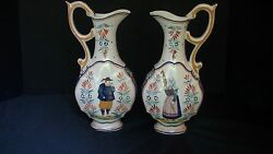 An Attractive Pair Of French Henriot Quimper Ewers