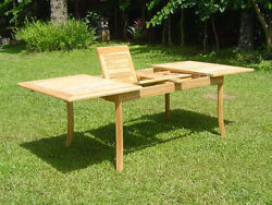 A-grade Teak Wood 94 Double Extension Rectangle Dining Table Outdoor Patio New