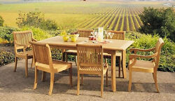 Giva A-grade Teak 7pc Dining 71 Rectangle Table 6 Chair Set Outdoor Patio New