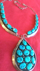 Navajo 25 Morenci Turquoise Silver Necklace Collectible Signed Native American