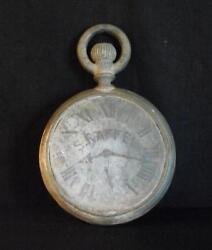 Antique Zinc Double Sided Pocket Watch Trade Sign Inscribed Nice