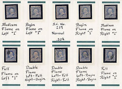 US # 219v (1890) Used 1c EFO: 'Candle Flame' set of 12 { 2 Very Scarce - rare}
