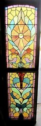 Antique American Stained Glass Window Double Hung Top And Bottom Salvage