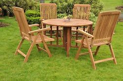 """Marl 5-pc Outdoor Teak Dining 48"""" Butterfly Round Table, 4 Reclining Arm Chairs"""