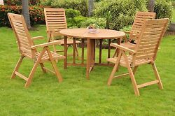 """Ash 5-pc Outdoor Teak Dining 48"""" Butterfly Round Table, 4 Reclining Arm Chairs"""