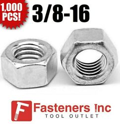 Qty 1000 3/8-16 Low Carbon Grade 2 Finished Hex Nuts Zinc Plated