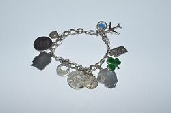 Vintage Wells Sterling Silver Charm Bracelet With Charms
