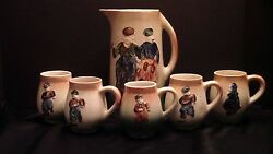 An Early Roseville Holland Stein And Set Of Mugs