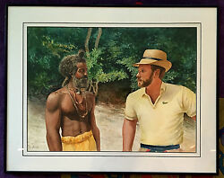 Rare 1985 Original Watercolor Universal Friends They Meet By Drew Strouble