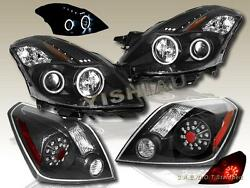 FIT FOR 2008-2009 ALTIMA COUPE CCFL LED PROJECTOR HEADLIGHTS BLK LED TAIL LIGHTS