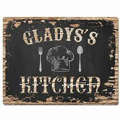 Pp1934 Gladysand039s Kitchen Plate Chic Sign Home Room Kitchen Decor Birthday Gift