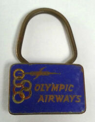 Rare Greece Olympic Airlines Enamel Old Keychain 60's /plane / Badge / Embleme