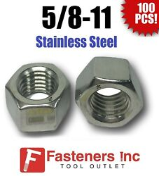 Qty 100 5/8-11 Stainless Steel Finished Hex Nuts 304 / 18-8 5/8-11