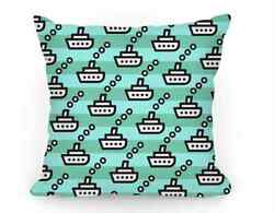 Cute Boat 16 Inch Pillow