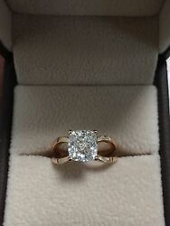 2.02ct Natural Cushion Criss Cross Solitaire Diamond Engagement Ring - GIA