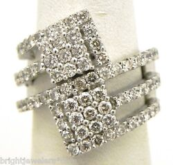 Sparkling Ladies 14k White Gold 2.07 Cts. Double Squared Bypass Ring