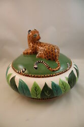 Tureen And Lid Jungle Jubilee Lynn Chase Animals Leopard Bowl Covered Serving Dish