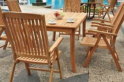 Marl 7-pc Outdoor Teak Dining Patio 83 Rectangle Table 6 Reclining Arm Chairs