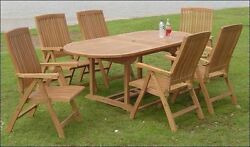 Marl 7-pc Outdoor Teak Dining 94 Oval Extension Table 6 Reclining Arm Chairs