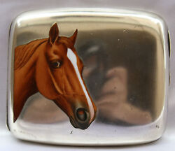 Magnificent 19c European 900 Silver Enameled Box With Horse Painting