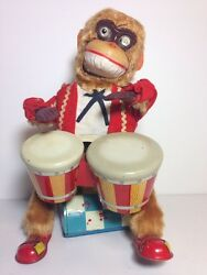 alps bongo drum musical monkey battery tin