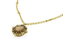 Judith Ripka Lace Necklace 18K Yellow Gold with Champagne Quartz NEW