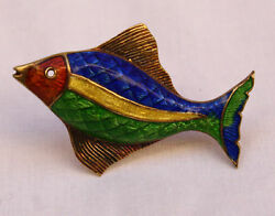 Magnificent Rare And Co 14 K Gold Enameled Fish Brooch
