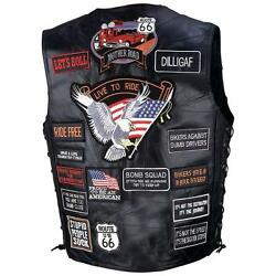 Mens Black Leather Biker Motorcycle Harley Rider Chopper Vest 42 Patches