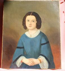 Magnificent 18 Century Oil On Canvas Painting Of A Girl Must See