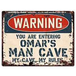 Pp3455 Warning Entering Omarand039s Man Cave Chic Sign Home Decor Funny Gift