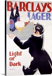 Barclays Lager Light Or Dark Vintage Canvas Wall Art Print Beer Home Decor
