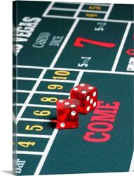 Dice On Craps Table Canvas Wall Art Print, Photography Home Decor