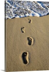 Footprints In The Sand Canvas Wall Art Print Christianity Home Decor