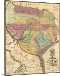 Vintage Map Of Texas With Parts Of The Canvas Wall Art Print Map Home Decor