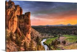 Sunset At Smith Rock State Park In Canvas Wall Art Print, Oregon Home Decor