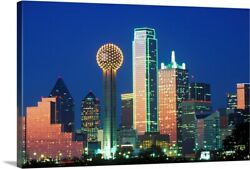 Dallas Tx Skyline At Night With Reunion Canvas Wall Art Print Home Decor
